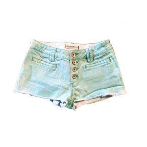 Bullhead Pacsun Mint Button Up Jean Shorts